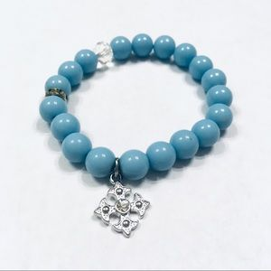 Cross rhinestone Light baby blue stretchy bracelet